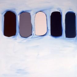 Cinq tas de sable- 110X110 cm- Huile sur toile- 2006