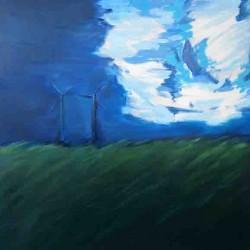 EoliennesLinge-150X150 cm- Huile sur toile- 2004
