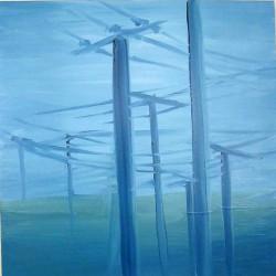 Poteaux électriques-60X60 cm- Huile sur toile- 2004