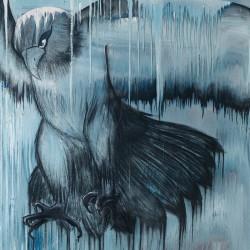 Aigle – 110X135 cm – Huiles/pigments/fusain sur toile – 2017