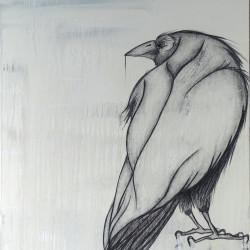 Corbeau – 110X115 cm – Huile/ pigments et fusain sur toile – 2017